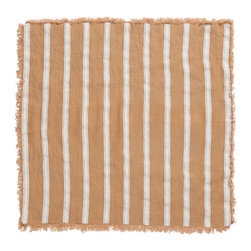 Cricket Radio - Alexandria Stripe Napkin, Set of 2, Camel/White - Whether you fold them, fan them or turn them into fancy flowers, these napkins will add style and color to your table. Made of soft Italian linen, each set of two 19-inch-square napkins features a hand-printed stripe pattern in your choice of color combinations.