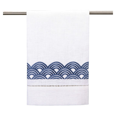 """DL Rhein - DL Rhein Rainbow Navy Guest Towel Set of 4 - Navy blue rainbows line the edge of DL Rhein's chic guest towel set. Finished with simple lace detailing, this contemporary accent lends a sophisticated vibe. 14""""W x 22""""H each; Set of 4; 100% cotton; Embroidered; Machine wash"""