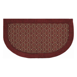 "Mohawk Home - Imports Concentric Dots Red Contemporary Geometric 20"" x 3' Slice Mohawk Rug - A simple way to add comfort and design to your kitchen. This cushioned mat that offers a cozy feel to your home decor. This mat features anti-fatigue memory foam and is stain resistant. Easy to clean, no bleach or detergent necessary, blot spills with a dry cloth & air dry.Non Woven Backing w/PVC Dots"