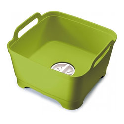 Joseph Joseph - Wash & Drain, Green - This basic piece of kitchen equipment is given a stylish and practical update with this smart, thoughtful design. It has an integrated plug which means water can be quickly drained away, eliminating the problem of lifting and emptying a heavy bowl. The plug can also be set to strain the water for food particles, allowing them to be easily disposed of and helping to prevent sink blockages. Its steep sides help keep water and soapsuds safely inside and large carry handles mean it can be easily carried,