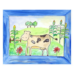 Oh How Cute Kids by Serena Bowman - Cow Is In The Corn, Ready To Hang Canvas Kid's Wall Decor, 20 X 24 - Every kid is unique and special in their own way so why shouldn't their wall decor be so as well! With our extensive selection of canvas wall art for kids, from princesses to spaceships and cowboys to travel girls, we'll help you find that perfect piece for your special one.  Or fill the entire room with our imaginative art, every canvas is part of a coordinating series, an easy way to provide a complete and unified look for any room.