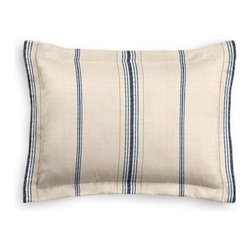 Blue Feedsack-Style Cotton Stripe Custom Sham - The Simple Sham may be basic, but it won't be boring!  Layer these luxurious reversible shams in various styles for a bed you'll want to fall right into. We love it in this classic rustic blue and tan feedsack style stripe made in super soft woven cotton.  Bye bye scratchy burlap!
