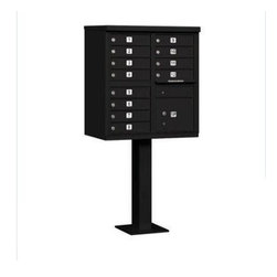 Salsbury Industries - Cluster Box Unit (Includes Pedestal) - 12 A Size Doors - Type II - Black - USPS - Cluster Box Unit (Includes Pedestal) - 12 A Size Doors - Type II - Black - USPS Access