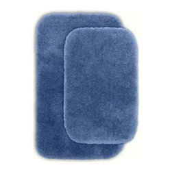 """Garland Rug - Bath Rug: Finest Luxury 21"""" x 34"""" Bathroom 2 -Piece Rug Set Basin Blue - Shop for Flooring at The Home Depot. Beautify your bathroom and make your feet happy with Finest Luxury Bath Rugs. These rugs will compliment any bathroom decor and are available in a variety of colors and sizes. The super heavyweight solid color plush is a traditional sleek design. Finest Luxury is made with 100% Nylon for superior softness and colorfastness. Proudly made in the USA."""