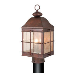 Vaxcel - Revere Royal Bronze 20.5 in. Outdoor Post Lig - Dimensions: 9.75 in. W x 9.75 in. L x 20.5 in. H. Finish: Royal Bronze. Glass Type: Seeded Glass. Number of Bulbs: 3. Bulb Wattage: 60 WATT. Bulb Type: CANDELABRA BASE. Moisture Rating: WET