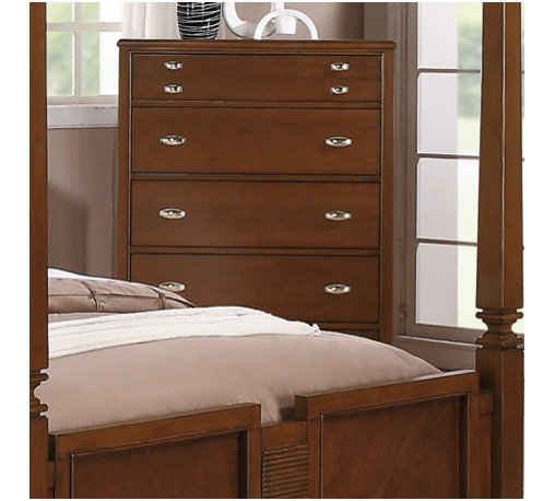 """Coaster - Jayden Canopy Chest in Light Cherry Finish - Humble styling accented with traditional detail defines the Jayden bedroom collection. Every item features tapered feet, creating a subtle contrast against each piece's straight lines and simple silhouette. Metal drawer pulls on each drawer add polish, while the drawers provide excellent storage for your clothing or bedroom accessories. Grand in size and design, with a light cherry finish for a more inviting appearance, this dramatic canopy bed completes your bedroom with a welcoming and regal nature.; Traditional Style; Light Cherry Finish; Dimensions: 37.50""""L x 18.75""""W x 53.50""""H"""