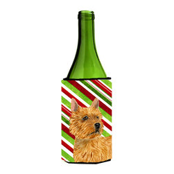 Caroline's Treasures - Norwich Terrier Candy Cane Holiday Christmas Wine Bottle Koozie Hugger - Norwich Terrier Candy Cane Holiday Christmas Wine Bottle Koozie Hugger Fits 750 ml. wine or other beverage bottles. Fits 24 oz. cans or pint bottles. Great collapsible koozie for large cans of beer, Energy Drinks or large Iced Tea beverages. Great to keep track of your beverage and add a bit of flair to a gathering. Wash the hugger in your washing machine. Design will not come off.