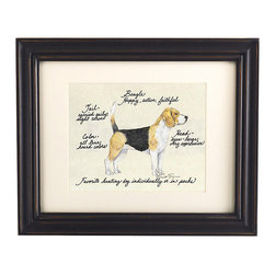 Ballard Designs - Beagle Dog Print - Our Beagle Dog Print was created by the dog-loving, husband and wife team of Vivienne and Sponge. The Beagle is known for being happy, active and faithful. Each Beagle portrait is hand colored and embellished with notes on the breed's special characteristics. Printed on antiqued parchment, signed by the artists and framed in antique black wood with eggshell mat and glass front. Beagle Dog Print features:Hand colored & signed . Printed on parchment. Eggshell mat. Antique black frame