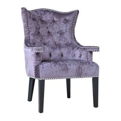 Fifth Avenue Upholstered Eggplant Velvet Chair with Nailhead Trim - Fifth Avenue Upholstered Eggplant Velvet Chair with Nailhead Trim 30 x 29.5 x 41.75 Accent Chair ETA Shipping Early December 2013 30 x 29.5 x 41.75