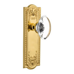 Nostalgic - Nostalgic Mortise-Meadows Plate-Oval Clear Crystal Knob-Polished Brass - The polished brass Meadows Plate, with its intricate beaded detailing and botanical flourishes, creates an inspired design theme. Add our Oval Clear Crystal Knob, with its clean oval shape and smooth outward-curve, and you have the perfect accompaniment for Period, Rustic and Arts & Crafts style homes. All Nostalgic Warehouse knobs are mounted on a solid (not plated) forged brass base for durability and beauty.