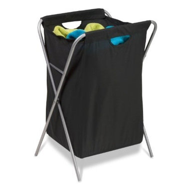 Honey Can Do - Honey-Can-Do Fold Up Nylon Hamper - Clothing Organizer - A sleek laundry solution, this black and matte steel x-frame hamper has a foldable frame. When not in use, this hamper folds to flat so it can be quickly and easily moved or stowed away. The nylon cloth bag features built in handles for carrying full loads to the laundry room. The steel frame is both sturdy and rust-resistant.