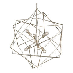 Currey & Company - Aerial Chandelier - Both modern and whimsical, the Aerial Chandelier is made of a series of geometric cubes set at various angles and finished in a bright Silver Granello.