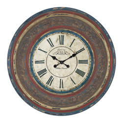 "ecWorld - Urban Designs Cafe De La Tour Paris Hand Carved 34"" Round Wall Clock - Bring some French style to your home with this oversize clock that is as stunning as it is useful. Aged finish and French text give this clock a sophisticated yet rustic charm.  The broad frame is made of wood and is enriched with fine artwork and vine hand carvings."