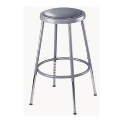 National Public Seating - Adjustable Stool w Vinyl Padding - 14 in. Dia. seat with 11.5 in. Dia. and 0.5 in. vinyl padding riveted through steel seat pan. 0.63 in. foot rings O.D. welded to each leg by four contact points at each leg for added rigidity. Meets ANSI and BIFMA standards. Steel contains 30-40% of post-consumer waste (recycled). Meets ANSI and BIFMA standards. Warranty: Five years for material. Made from 0.88 O.D. 18-gauge heavy duty steel tubing. Adjustable seat height: 25 - 33 in.. Overall: 14 in. L x 14 - 16 in. W x 25 - 33 in. H (11 lbs.). Assembly Instructions