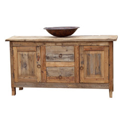 Reclaimed Barnwood Vanity - If you love rustic, then this farmhouse reclaimed bathroom vanity is perfect for you. Crafted from a unique variety of reclaimed barnwood , collected from old barns and corrals. The top drawer is a false drawer to allow for plumbing. The top is finished with a non glossy polyurethane to protect the wood from any water damage.