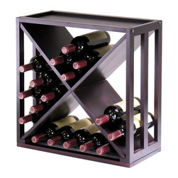 Winsome Wood - X-Cube Wine Rack - Hold up to 24 wine bottles in this fashionable cube-style rack, a contemporary unit with slatted sides, an X-shaped interior and a top shelf. The stackable rack is finished in espresso and can be used alone or paired with optional pieces for added capacity. Made of solid Wood. Holds 24 wine bottles. Espresso finish. Some assembly required. 9.92 in. W x 20.47 in. L x 20.47 in. H
