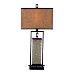 Kenroy - Kenroy 30740ORB Plateau Transitional Table Lamp - Combining colonial and modern elements, this family has a versatile appearance.  The forged look of Oil Rubbed Bronze and Antiqued frosted glass gets modern panache from a clean rectangular shape.