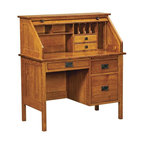 Chelsea Home - Roll Top Desk in Cherry Finish - Handcrafted. Contemporary and geometric style. Roll top desk. 21 in. wide knee space. Three full extension dovetail drawers. Pull out writing board above pedestal. Letter size file drawer at bottom. Made from mortise and tenon solid wood joint. White quarter sawn oak finish. Made in USA. No assembly required. 42 in. W x 22 in. D x 47 in. H (200 lbs.)Chelsea Home Furniture proudly offers heirloom quality furniture, custom made for you. What makes heirloom quality furniture? Its knowing how to turn a house into a home. The best nature has to offer. Its creating memories. Its ensuring the furniture you buy today will still be the same 100 years from now. Every piece of furniture in our collection is built by expert furniture artisans with a standard of superiority that is unmatched by mass-produced composite materials imported from Asia or produced domestically. Many pieces are signed by the craftsman that produces them, as these artisans are proud of the work they do. In addition, our craftsmen use tongue-in-groove construction, and screws instead of nails during assembly and dovetailing both painstaking techniques that are hard to come by in todays marketplace. So adorn your home with a piece of furniture that will be future history, an investment that will last a lifetime.