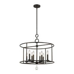 Crystorama - Cameron 8 Light Chandelier - You can see arts and crafts influence in our Cameron collection, but other details are inspired by more home design trends - sleek shapes, geometric motifs and pure white glass.