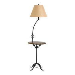 Cal Lighting - Cal Lighting BO-2095FL 150 W 3 Way Iron Floor Lamp With Wood Tray  Table Lamp - 150W 3 Way Iron Floor Lamp W/Wood Tray Table