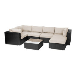 Reef Rattan - Reef Rattan London 7 Pc Sectional Sofa Set - Black Rattan / Beige Cushions - Reef Rattan London 7 Pc Sectional Sofa Set - Black Rattan / Beige Cushions. This patio set is made from all-weather resin wicker and produced to fulfill your needs for high quality. The resin wicker in this patio set won't fade, shrink, lose its strength, or snap. UV resistant and water resistant, this patio set is durable and easy to maintain. A rust-free powder-coated aluminum frame provides strength to withstand years of use. Sunbrella fabrics on patio furniture lends you the sophistication of a five star hotel, right in your outdoor living space, featuring industry leading Sunbrella fabrics. Designed to reflect that ultra-chic look, and with superior resistance to the elements in a variety of climates, the series stands for comfort, class, and constancy. Recreating the poolside high end feel of an upmarket hotel for outdoor living in a residence or commercial space is easy with this patio furniture. After all, you want a set of patio furniture that's going to look great, and do so for the long-term. The canvas-like fabrics which are designed by Sunbrella utilize the latest synthetic fiber technology are engineered to resist stains and UV fading. This is patio furniture that is made to endure, along with the classic look they represent. When you're creating a comfortable and stylish outdoor room, you're looking for the best quality at a price that makes sense. Resin wicker looks like natural wicker but is made of synthetic polyethylene fiber. Resin wicker is durable & easy to maintain and resistant against the elements. UV Resistant Wicker. Welded aluminum frame is nearly in-destructible and rust free. Stain resistant sunbrella cushions are double-stitched for strength and are fully machine washable. Removable covers made with commercial grade zippers. Tables include tempered glass top. 5 year warranty on this product. PLEASE NOTE: Throw pillows are NOT included. Corner Cha