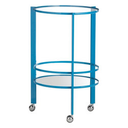 """Ernest Pool Bar Cart - At 19.5"""" in diameter, the Ernest Pool Bar Cart can nestle into the smallest of corners."""