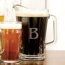 """Beer Pitcher - A great addition to a home bar, our Monogrammable Beer Pitcher is designed like those used in pubs around the world, and is amply sized for entertaining. 8"""" diameter, 9.5"""" high Made of thick glass. Monogramming is available at an additional charge. Monogram will be centered on the side of the pitcher. Catalog / Internet Only."""
