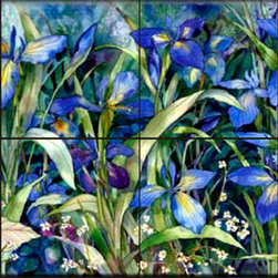 The Tile Mural Store (USA) - Tile Mural - Blue Iris  - Kitchen Backsplash Ideas - This beautiful artwork by Kathleen Parr McKenna has been digitally reproduced for tiles and depicts a stunning blue iris painting.  With our enormous selection of tile murals of plants and flowers you can bring your kitchen backsplash tile project to life. A decorative tile mural with plants and flowers is an impressive kitchen backsplash idea and decorative flower tiles also work great in the bathroom. Add splashes of color and life to your tile project with images of flowers on tiles and tiles with pictures of plants.