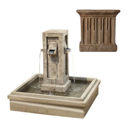 Campania International - Pallisades Fountain - Aged Limestone (AL) - Weights 625 lbs. Shipping is available throughout the continental United States. As these fountains are made to order,_please allow 4 to 6 weeks for delivery. Drop ship is curbside delivery only.