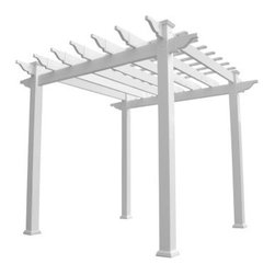 Weatherables Royal 6.5 ft. White Vinyl Pergola - Dress up any outdoor living space with the easy-to-own Weatherables Royal 6.5 ft. White Vinyl Pergola. Ideal over your patio or hot tub, this pergola lets you live more, stress less. Made in the USA from vinyl by Weatherables, the strongest vinyl in the industry, this pergola is worry-free. It's made of 100% true vinyl and includes no polypropylenes that can deteriorate over time. You'll never need to sand, paint, or stain, and it won't fade, warp, chip, or crack. Decorative trim for bottom of posts is included. It arrives as a pre-engineered kit so there's nothing for you to cut. This pergola arbor assembles in about two hours with minimal site work required.DimensionsHeaders: 6W x 2D inchesRafters: 1.5W x 5.5D inchesShade slats: 7/8 inchPosts: 5W x 5D inchesInterior: 83W x 83D x 87H inches inchesExterior: 88W x 88D x 96H inchesWeight: 178 lbs.The leading wholesale manufacturer of vinyl fencing and garden products in the USA, USA Vinyl, LLC strives to offer the highest quality vinyl fence products, the best service, and a great warranty at the lowest prices. Having developed a reputation as a premier vendor or vinyl fencing, railing, and garden decor over the years, USA Vinyl offers technical support on all of their products and stands by their customer service. Dedicated to making products that are Made in the USA, their vinyl products are 100% American made and they never cut corners by purchasing inferior materials.