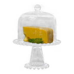 Covered Pedestal Cake Stand - This Covered Pedestal Cake Stand is a beautiful presentation for cupcakes, cookies, or croissants! The domed lid keeps everything fresh, light and chic.