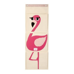 3 Sprouts - Flamingo Wall Organizer - Isn't it frustrating to search endlessly for those small, but important, objects that frequently seem to go astray? This hanging wall organizer is the perfect solution for keeping track of all your odds-and-ends. Easy to hang, the organizer has 3 generous pockets that are for diapers in the nursery, precious art projects, those tiny 'gotta find it now' toys. The 3 Sprouts hanging wall organizer will ensure that keeping track of your small things never turns into a big headache!