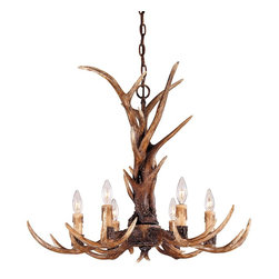 Karyl Pierce Paxton - Karyl Pierce Paxton 1-40017-6-56 Blue Ridge Traditional 6-Light Chandelier - Antlers and twisted rope detail combine to bring a sense of adventure home: New Tortoise Shell finish with Antique Cream candle covers.