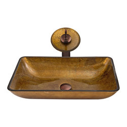 VIGO Industries - VIGO Rectangular Copper Glass Vessel Sink and Waterfall Faucet Set in Oil Rubbed - The VIGO Rectangular Copper glass vessel sink and waterfall faucet set will bring a modern elegance to your bathroom.