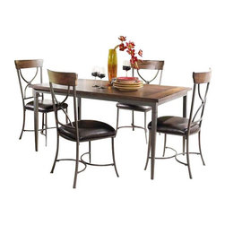 "Hillsdale Furniture - Hillsdale Cameron 5-Piece Rectangle Dining Room Set with X-Back Chairs - Hillsdale's Cameron collection beautifully combines a warm chestnut brown wood finish with a dark grey metal and offers a multitude of choices to create the perfect dining group for your home. Starting with the chairs, you have the choice of three lovely designs: The X-Back chair combines a warm chestnut brown top accent with a transitional metal X in the center of the back and a brown faux leather seat. The parson's chair is traditional in design and combines the warm chestnut brown finish with the brown faux leather seat. The ladder back chair features 3 rungs in the chestnut brown finish, enhanced by the dark grey metal and brown faux leather seat. Now that you have decided on your chair, let's look at the table options: The stunning rectangle table features a wood top that is generously scaled to easily accommodate 6. The simple round table features a 48"" diameter wood top with flared metal legs. The round wood table is 48"" in diameter and features a wonderful metal accent on the base."