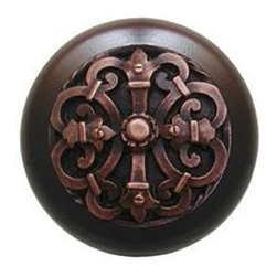"""Notting Hill - Notting Hill Chateau/Dark Walnut Wood Knob - Antique Copper - Notting Hill Decorative Hardware creates distinctive, high-end decorative cabinet hardware. Our cabinet knobs and handles are hand-cast of solid fine pewter and bronze with a variety of finishes. Notting Hill's decorative kitchen hardware features classic designs with exceptional detail and craftsmanship. Our collections offer decorative knobs, pulls, bin pulls, hinge plates, cabinet backplates, and appliance pulls. Dimensions: 1-1/2"""" diameter"""