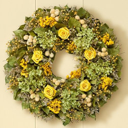 Preserved Golden Rose Wreath - This wreath is gorgeous. It has been perfectly crafted with beautiful greens and yellows.