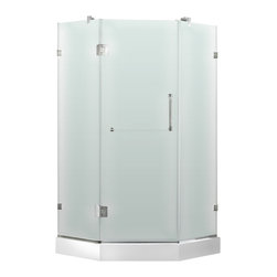 """VIGO Industries - VIGO 36 x 36 Frameless Neo-Angle 3/8"""" Shower, Right Door with White Base - Both dramatic and space-saving, the VIGO frameless neo-angle shower enclosure creates a beautiful focal point for your bathroom."""