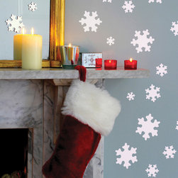 """FunToSee - Snowflakes Wall and Window Art Decals, White - 30 Snowflake Wall Decals. Crisp white snowflakes to add a Christmas touch to walls, furniture and windows. Decals measure 1.4"""" - 4"""""""