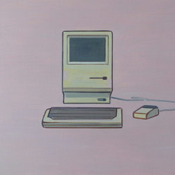 Iconic Vintage Mac Computer Painting (Original) by Wyatt Mcdill - This painting is for anyone who loves Macs, computers, computing, clean design, or vintage machines.