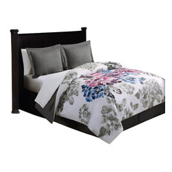 Pem America - Evanescent King Bed Ensemble - Think of a delicate charcoal drawing covering your whole bed with the stark black and white flowers��_ Now add splashes of color to bring those delicately drawn flowers to life!  The striking black and white brings contrast to your room while the touches of color bring a brightness to the whole bed and make it the centerpiece to your master bedroom.  Evanescent is a beautiful collection in an easy to care for microfiber fabric! King Comforter (100x90 inches), King Pillow Shams (20x36 inches), King Bed skirt (78x80 inches), King Flat Sheet (108x102 inches), King Fitted Sheet (78x80 inches), Pillowcases (20x40 inches). 100% hypoallergenic microfiber polyester face and fill. Machine washable.