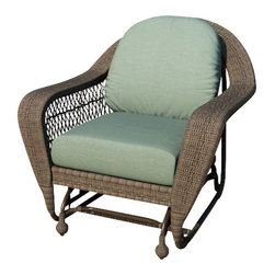 Forever Patio - Catalina Traditional Wicker Swivel Glider, Heather Wicker, Spa Cushions - The Forever Patio Catalina Single Glider in Heather Wicker with Turquoise Sunbrella® Cushions (SKU FP-CAT-SG-HT-SP) features a deep-seated design and sweeping curves, making it both incredibly comfortable and stylish. The UV-protected, Heather wicker incorporates subtle shifts in tones, providing a look that is complex and beautiful. This chair includes fade- and mildew-resistant Sunbrella® cushions.