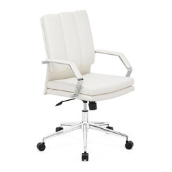 ZUO MODERN - Director Pro Office Chair White - This chair has a leatherette wrapped seat and back cushions with chrome solid steel arms with leatherette pads. There is a height and tilt adjustment with a chrome steel rolling base.