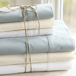 """PB Organic 400-Thread-Count Sheet Set, Cal. King, White - Our PB Organic Bedding is made of 100% organic cotton that's grown in the USA and then woven to a supremely soft 400-thread-count percale. 100% organic cotton. 400-thread count. Set includes flat sheet, fitted sheet and 2 pillowcases (1 with Twin). Machine wash. Watch a video with {{link path='/stylehouse/videos/videos/dt_v2_rel.html?cm_sp=Video_PIP-_-DESIGN_TIPS-_-GREEN_LIVING_TIPS' class='popup' width='950' height='300'}}simple tips for green living every day{{/link}}. Catalog / Internet Only. Imported. Monogramming is available at an additional charge. Monogram is 3"""" and will be centered along the border of the pillowcase and the flat sheet."""