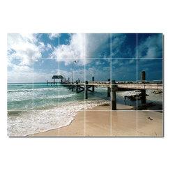 Picture-Tiles, LLC - Beach Photo Backsplash Tile Mural 30 - * MURAL SIZE: 17x25.5 inch tile mural using (24) 4.25x4.25 ceramic tiles-satin finish.