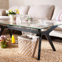 Furniture of America - Furniture of America Curtsy Kelly Glass Coffee Table - Add a modern touch to your home decor with this Curtsy Kelly Glass Coffee Table. This luxurious coffee table features a smooth rectangular glass top and beautifully designed black finish legs.