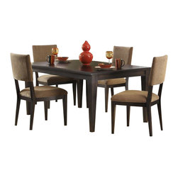 Liberty Furniture - Liberty Furniture Visions 6 Piece 84x42 Dining Room Set in Mocha, Dark Wood - The Visions collection offers contemporary styling with a comfortable rustic edge. Great design offers flexibility for today's living spaces. The case pieces feature picture frame, beveled moldings with exposed parting rails for added dimension. Tapered block feet are accented with a bottom stretcher for the base of the cases. Custom designed pewter bar pull twist hardware delivers a distinctive look combined with the waxed dark mocha finish. Architectural lines with casual looks highlight the tables. Fancy face 4 way match veneers accent the table tops. Two chair options feature a splat back with tapered panels and legs, or a low profile upholstered back; both in a brown multi chenille fabric. What's included: Dining Table (1), Side Chair (4), Server (1).