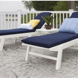 POLYWOOD® Nautical Stackable White Wheeled Chaise with Navy Cushions - Set of 2 - Downtime spent in a natural setting has proven benefits, so think of the POLYWOOD Nautical Stackable Wheeled Chaise with Cushions - Set of 2 with Table as a powerful antidote to the stresses of your action-packed life. The chaises offer no less than five backrest positions, providing ultimate comfort for the diverse needs of reading, sunning, conversation and more. Cushions dry quickly and resist fading, tearing, and weather's insults. Ideal for snacks, water balloons, sunscreen, or whatever your necessities might be, the side table is at your service. Solid POLYWOOD recycled lumber will retain its pristine look despite years of sun, salt spray, extreme conditions, food spills, corrosive chemicals, and hard use. Fading, peeling, cracking, rotting, chipping, and splintering aren't in this set's vocabulary; staining, waterproofing, and sanding won't be in yours. Chairs can fold flat for easy stacking. Boasting commercial grade stainless steel hardware and a 20-year limited residential warranty or 1-year limited commercial warranty, this set is made in the USA with over 90% recycled materials. POLYWOOD cleans easily with soap and water.About Poly-WoodThe advantages of Poly-Wood Recycled Plastic are hard to ignore. Poly-Wood absorbs no moisture and will NOT rot, warp, crack, splinter, or support bacterial growth. Poly-Wood is also compounded with permanent UV-stabilized colors, which eliminates the need for painting, staining, waterproofing, stripping, and resurfacing. This material is impervious to many substances, including salt water, gasoline, paint, stains, and mineral spirits. In addition, every Poly-Wood product comes with stainless steel hardware.Poly-Wood is extremely easy to clean and maintain. Simple soap and water is all you need to get rid of dirt and make your furniture look new again. For extreme cleaning needs, you can use a 1/3 bleach and water solution. Most Poly-Wood furnishings are available in a variety of classic colors, which allow you to choose your favorite or coordinate with the furniture you already have. This is sure to be a piece that you will be proud to own for a lifetime.