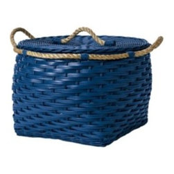 Serena & Lily - Rope Low Round Bin  Cobalt - Woven by hand of squared-off rattan with a thick jute rope wrapped around the top, these rugged bins are easy to tote from playroom to bedroom to laundry room.