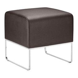 ZUO - Zuo Plush Ottoman in Espresso - It looks like a scrumptious chocolate bon bon on stilts, but this versatile ottoman is anything but empty calories. The substantial leatherette and steel stylized cube will make a modern statement when paired with an equally chic couch or chair. This footstool comes in plush espresso or dazzling silver.